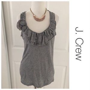 J. Crew Gray Ruffle Tank and Embellished Floral S